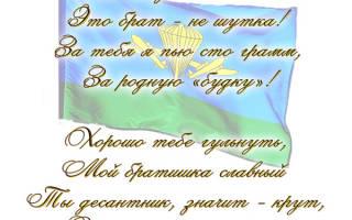 Поздравления с Днем ВДВ брату от сестры/брата